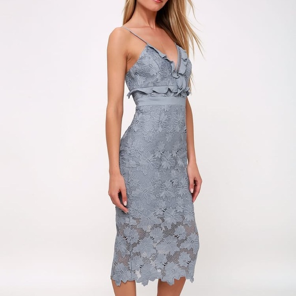 a5d776ae Bardot Dresses | Vienna Dusty Blue Lace Midi Dress | Poshmark